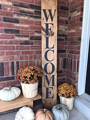 Thomas655 - Cartel de Bienvenida con Texto en inglés Welcome Porch, tamaño Grande, con Texto en inglés Welcome to Our Home, Gran Cartel de Madera