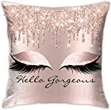 BONRI Pants Pink Rose Dripsmakeup Lashes 3D Printed Pattern Square Cushion Cover Standard Pillowcase for Home Decorative Bedroom/Living Room/Car,(17'x17' / 43x43cm