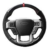 ZIMAwd Cubierta del Volante del Coche Cosida a Mano, Apta para Ford F-150 F150 King Ranch Lariat Platinum XL XLT 2015 2016 2017