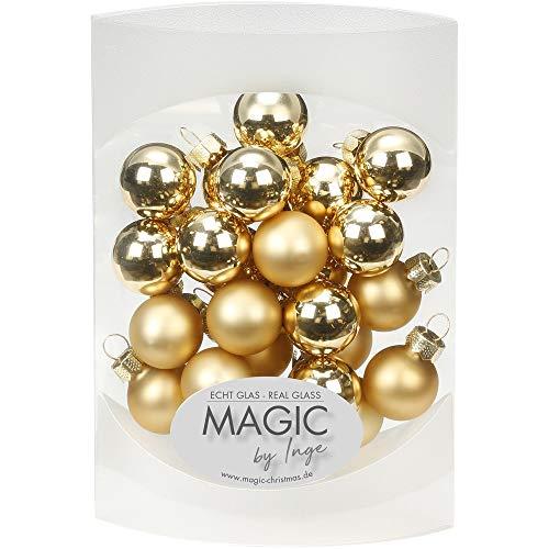 MAGIC 25 STK. Weihnachtskugel 2cm Glas Weihnachtsschmuck Weihnachtsdeko Deko Box (Brokatgold Gold Glanz/matt)