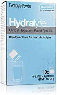 Hydralyte Electrolyte Hydration Powder Packets Formula, Lemonade, 10 Count (Pack of 2)