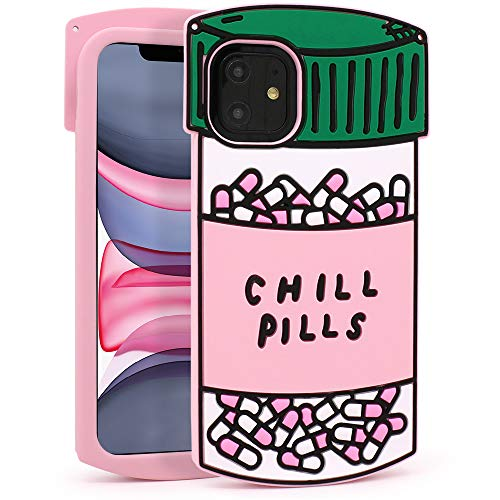 YONOCOSTA iPhone 11 Case, Cute Funny 3D Cartoon Chill Pills Capsule Bottle Shaped Soft Silicone Full Protection Shockproof Back Cover Cases Skin for Kids Girls Women Children