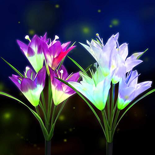 BOIROS Solar Gartenleuchten im Freien, 2er Pack Solar Flower Lights mit 8 Lilienblume, mehrfarbig wechselnde LED Lily solarbetriebene Lichter für Patio, Hofdekoration