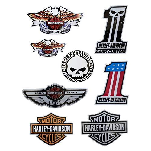Harley devidson bar & Shield Sticker Decals Skull American Tribal Eagle Sticker Helmet Tank Motorcycle Sticker Set Reflective (8packs)