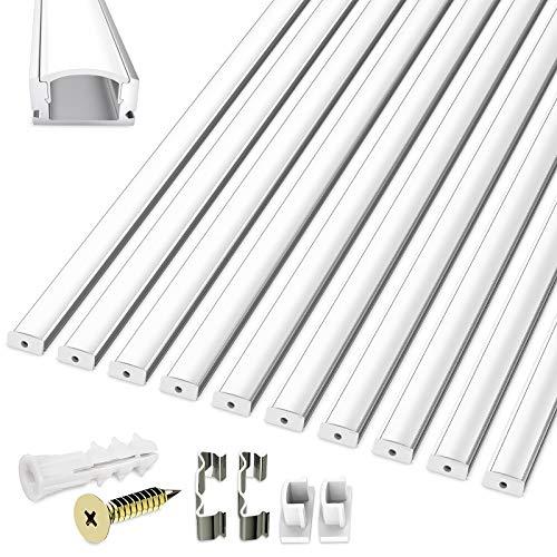 LED Aluminium Profil 10 Packs, Homegoo 1 m U-förmiger LED-Aluminiumkanal für LED-Lichtbänder mit milchig weißer Abdeckung, Endkappen, Metallbefestigungsklammern und Schrauben