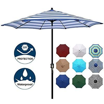 Blissun 9' Outdoor Aluminum Patio Umbrella, Striped Patio Umbrella, Market Striped Umbrella with Push Button Tilt and Crank (Blue & White Stripe)
