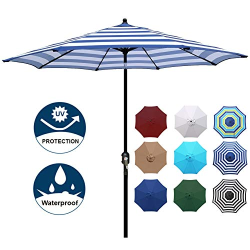 Blissun 9' Outdoor Aluminum Patio Umbrella, Striped Patio Umbrella, Market Striped Umbrella with Push Button Tilt and Crank (Blue and White)