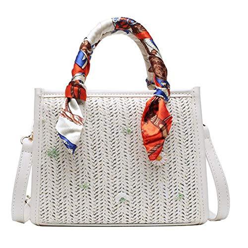 cypressen Stroh Umhängetasche, Stroh Clutch Damen Handgefertigte Stroh Umhängetasche Summer Beach Handtasche Brieftasche - 20x16x9cm
