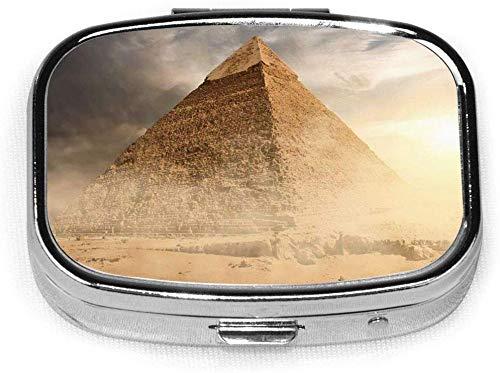 Ogden Juego de 2, Caja de píldoras cuadradas con 2 Compartimentos, Caja de píldoras de Viaje portátiles Pirámide de Egipto en Polvo de Arena bajo Nubes Grises Egipcio