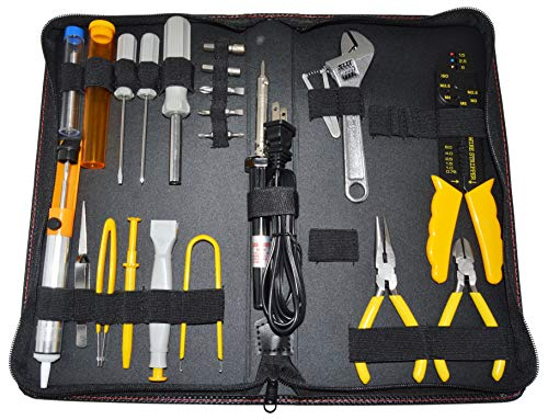 Electrical Engineering Toolkit, Includes 35W Soldering Iron, Solder, Desoldering Pump, Wire Striper Cutter Crimper, Adjustable Wrench, Driver + Bits, Pliers, Tweezers, IC Extractor + Inserter and More