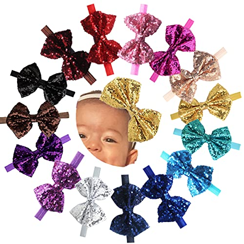 15Pcs Baby Girls Headbands 4'' Big Boutique Bling Sparkly Glitter Sequin Hair Bows Headband Elastic Hair Bands Hair Accessories for Toddlers Infants Newborns