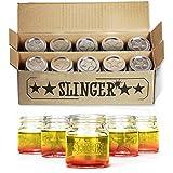 THE SLINGER Shot Glasses Set - Mini Mason Jars with Lids Featuring Unique Star Design (10 Pack)