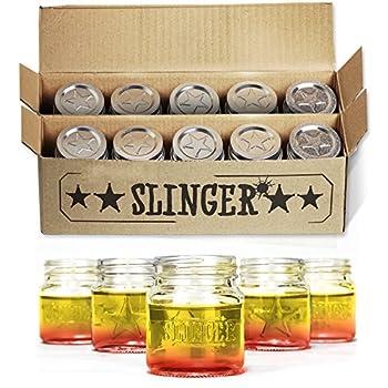 THE SLINGER Shot Glasses Set - Mini Mason Jars with Lids Featuring Unique Star Design  10 Pack