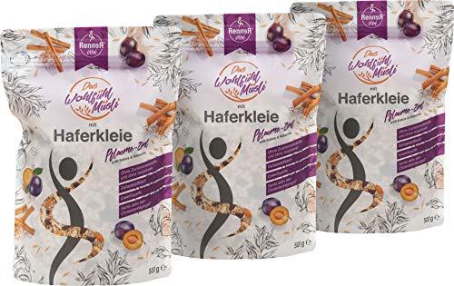 RennerVital WohlfühlMüsli Haferkleie Müsli Chia Samen 3 x 500 Gramm Pflaume mit aromatischem Zimt Porridge Slow Carb cholesterinsenkend Lebensmittel frei von künstlichen Aromen gesund abnehmen