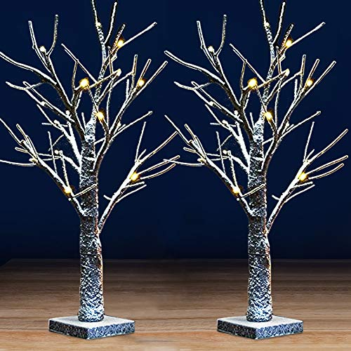 Bright Zeal [Pack of 2 18' Tall White Birch Tree with Lights and Faux Snow - LED Birch Tree Light Up Tabletop Decor - Decorative Table Top Birch Tree Snow Tree Decor Artificial Birch Trees Home Decor