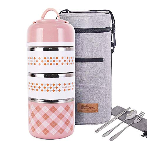 Lunch Box Stainless Steel Food Containers 3 Stackable Square Bento Box with Insulated Lunch Bag Spoon and Fork Set for School Office Or Picnic Light Pink
