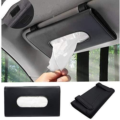 MICOOS Car Tissue Holder, PU Leather Tissue Box, Hanging Paper Towel Clip, Sun Visor Napkin Holder, Car Visor Tissue Holder,Paper Towel Box