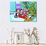YuanMinglu Ratón de Dibujos Animados tío Fiesta de Navidad Papel Tapiz póster Impresiones Pared Arte Lienzo Pintura decoración sin Marco Pintura 36x45 cm
