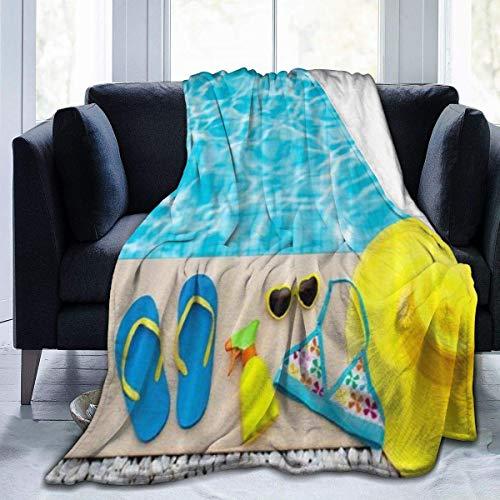 Hdaw Manta de forro polar ultra suave, para verano, piscina, playa, bikini, sombrero, decoración del hogar, cálida manta para sofá cama