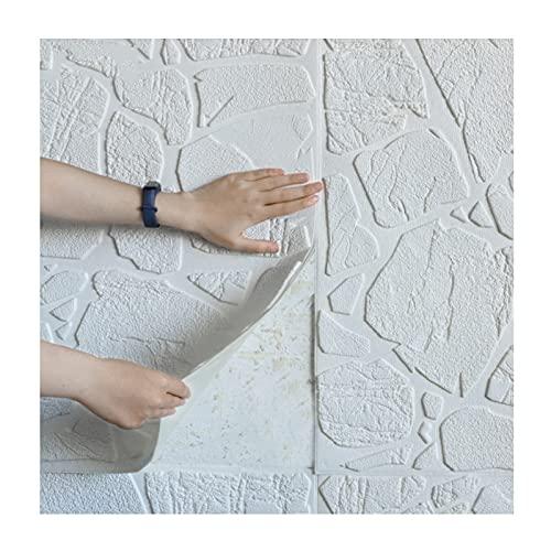 Sufei Papel Pintado Impermeable Efecto 3D Adhesivo Pared Papel Pintado Autoadhesivo Grueso PVC Efecto de Piedra para Cocina Dormitorio Armarios,30PCS