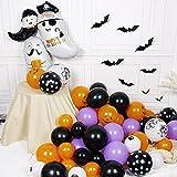 75 pcs Halloween Luftballons Girlande, Orange Schwarz Luftballons Kürbis Ballon Dekorationen, Schwarzer Fledermaus Konfettiballon Helium Balloon für Halloween party Dekoriert Tischdeko Geburtstagdeko - 3
