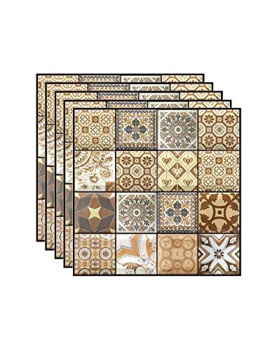 Zhhlaixing Pegatinas de Pared, Pegatinas de Azulejos Autoadhesivos 3D Etiqueta Engomada del Azulejo Decorativos Adhesivos para Sala Cocina 5 Piezas (30 x 30 cm / 11.8 x 11.8 Pulgadas)