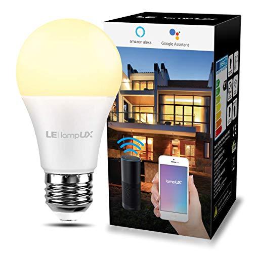 LE Lampadina LED Intelligente Alexa E27, 9W=60W, Luce Lampadina WiFi Bianca Calda 2700K Luminosità Dimmerabile, Lampadine Smart Funziona con Alexa e Google Assistant, Controllo da App Smartphone