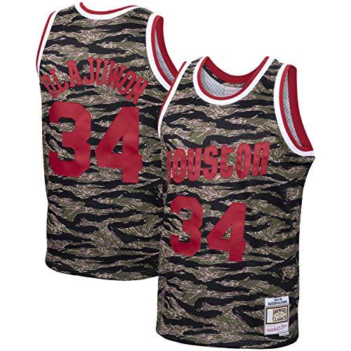GSDAA Hakeem Olajuwon Jersey de baloncesto de manga corta Houston Rockets Traning Jersey #34 Hardwood Classics Tiger Swingman Jersey Camo - Icono Edition-XXL
