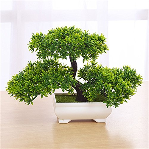 ETbotu Mini Bonsai Tree Artificial Plant,Not Faded No Watering Potted for Office Home Decoration