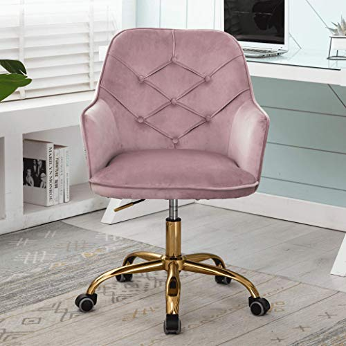 Modern Desk Chair, Velvet Swivel Chairs, Adjustable Armchair with Casters for Office, Makeup Chair with Button Tufted for Bedroom, Pink