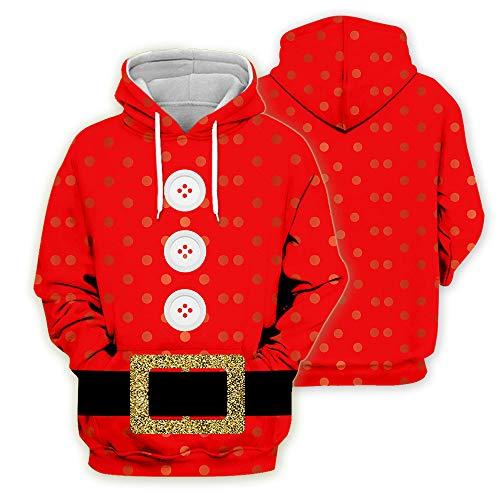 yanghuakeshangmaoyouxiangong Unisex Hoodies Weihnachten 3D Gedruckt Santa Cospaly Hoodie Lose Paar Jacke