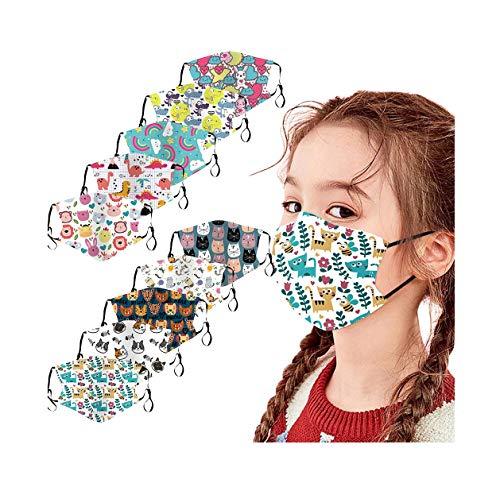 JoJody - Lote de 10 protectores reutilizables para el rostro, protección de la nariz, niños y niñas al aire libre, algodón antipolvo