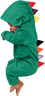 Infant Baby Boys Girls Cotton Dinosaur Style Patchwork Hooded Rompers Jumpsuit Playsuit Clothes Outfits Sets (3Months-24Months)