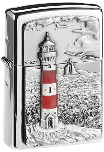 Zippo Zippo Feuerzeug 2001670 Lighthouse Emblem Benzinfeuerzeug, Messing Chrome