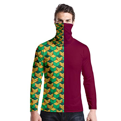 T-Shirt À Manches Longues,Col Rond À Manches Longues Décontracté Imprimé Vert Carré Viné Unisex T-Shirt Tops Imprimé Chemisier Body Shirt avec Écharpe Hommes Femmes Automne Hiver Pullover S