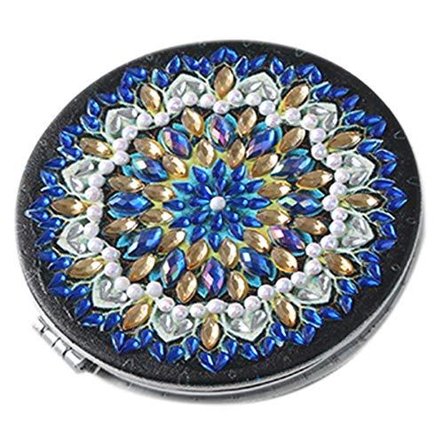 SODIAL 5D DIY SpéCial en Forme de Diamant Peinture Miroir Femmes Fille Ultra-Mince Maquillage Miroir Broderie Croix Datura Fleurs