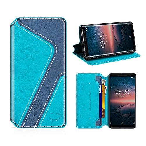 MOBESV Smiley Nokia 8 Sirocco Hülle Leder, Nokia 8 Sirocco Tasche Lederhülle/Wallet Hülle/Ledertasche Handyhülle/Schutzhülle mit Kartenfach für Nokia 8 Sirocco, Aqua/Dunkel Blau