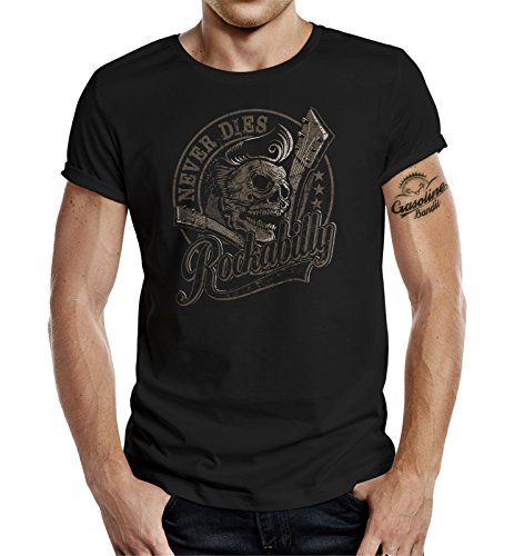 GASOLINE BANDIT Rockabilly Camiseta Original Diseno: Rockabilly Never Dies! III XL