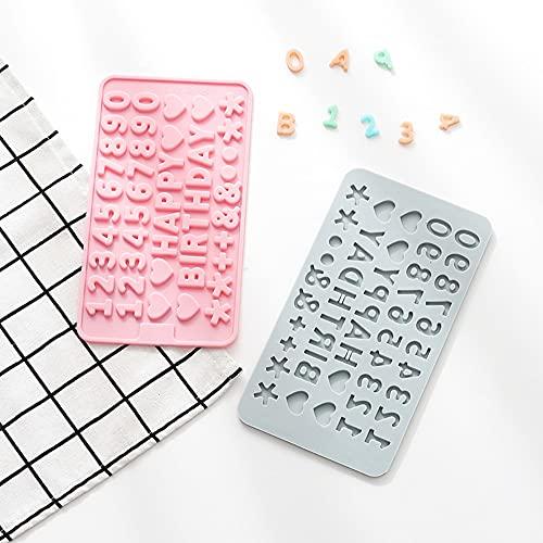 A-XINTONG, pacote com 2 moldes de silicone com letras do alfabeto, silicone antiaderente 3D, letras de feliz aniversário, formas de números, mousse de doces, sobremesa, goma de goma de açúcar, forma de assar no gelo, ferramentas de decoração faça-você-mesmo (HB)
