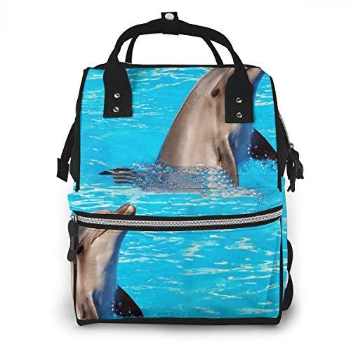 nbvncvbnbv Cute Dolphin Diaper Bag Mochila Bolsa de pañales Aby Bags for Mom Maternidad Mochila de viaje multifunción para papá y mamá