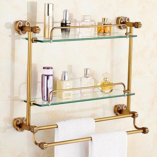 Toutes les étagères en verre double couche en bronze contrastées avec porte-serviettes/salle de bains (taille : 60 cm)