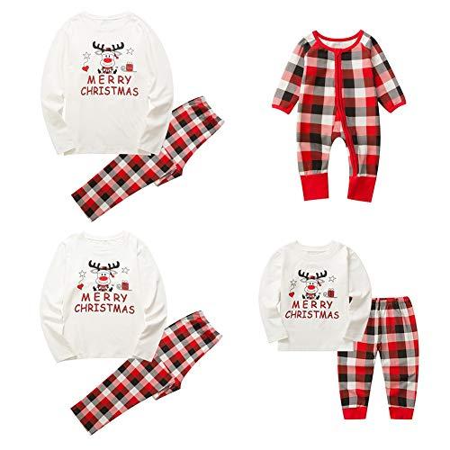 Baywell Weihnachts Schlafanzüge Familie Pyjama Outfit Set Rot Plaid Nachtwäsche Sleepwear Homewear fur Mutter Vater Kind Baby Weihnachtsoutfit