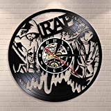 BFMBCHDJ Rap Wall Art Reloj de Pared Hip Hop Vintage Vinyl Record Reloj de Pared Music Studio Room Decor Musical Live Show Rappers Gift