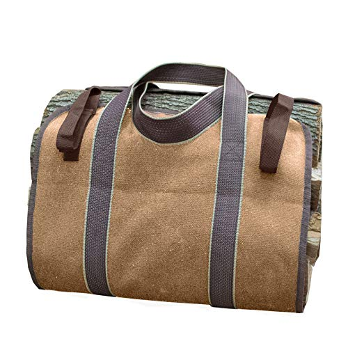Best Review Of YIIYU Large-Capacity Canvas Logging Bag, Firewood Storage Bag, Water-Resistant Firewo...