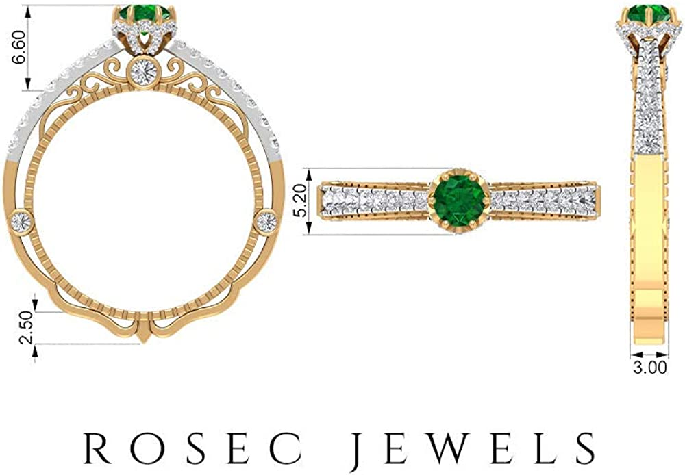 4 MM Round Lab Created Emerald Solitaire Ring, 0.43 CT HI-SI Diamond Ring, Gold Engagement Ring (AAAA Quality), 14K Gold