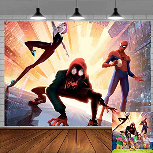 Miles Morales Spiderman Backdrop Boys Birthday Party Supplies Ultimate Photography Backdrops Banner Decorations Children Photo Booth Studio Props Background Superhero City Scape Dessert Table