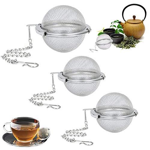 HUYIWEI 3 Stück Teesieb,Tea Kugeln aus Edelstahl,304 Teesieb,Teesieb mit Kettenhaken,Teesieb für Teekanne/Tasse/Dose,für Massentee,Gewürze(Zwei Größen)