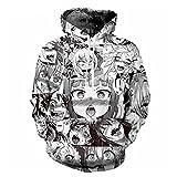 Cowesoo Unisex Anime Ahegao 3D-Hoodies lustig Print Street Wear Casual Sweatshirt