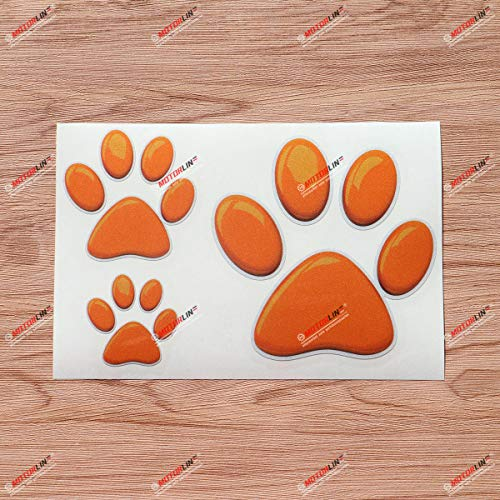 Dog Paw Print Track K9 Unit Vinyl Decal Sticker Orange 3D Style - 3 Pack Reflective, 2 Inches, 3 Inches, 5 Inches - for Car Boat Laptop Cup Phone