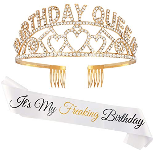 It's My Freaking Birthday Sash + Gold Birthday Queen Rhinestone Metal Crown Tiara- Adult Birthday Party Decorations for Women- Party Supplies 18th 21st 30th 33rd 35th 40th 50th 60th 70th 80th 90th